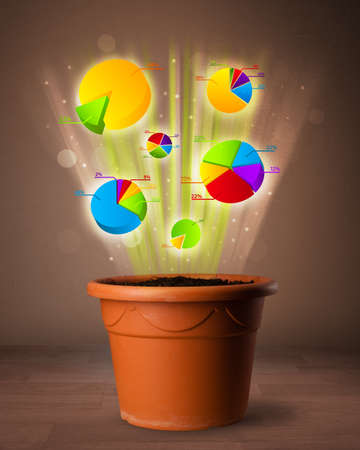 Glowing pie charts coming out from flowerpot