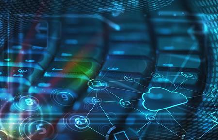 Foto de Computer keyboard with glowing cloud computing and multimedia icons - Imagen libre de derechos