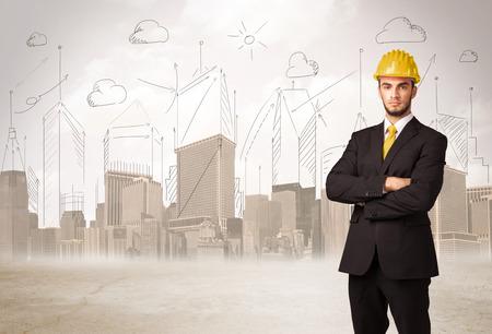 Photo pour Business engineer planing at construction site with city background concept - image libre de droit