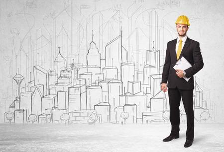 Photo pour Construction worker with cityscape background drawing - image libre de droit