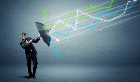 Photo pour Business person with umbrella and colorful stock market arrows concept - image libre de droit