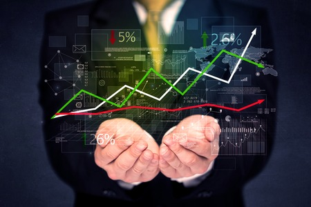 Businessman holding stock data