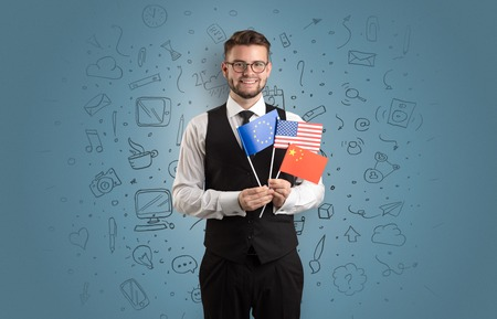 Boy with office symbol concept and flag