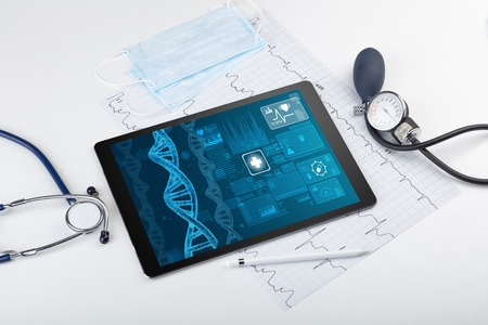 Photo pour Biotechnology concept with medical technology devices - image libre de droit