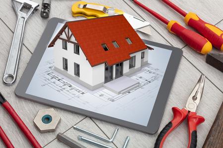 Photo pour Tablet and tools with 3d home plan concept - image libre de droit