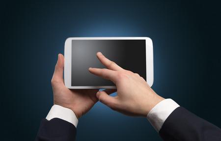 Foto de Hand using tablet with no concept and empty space - Imagen libre de derechos