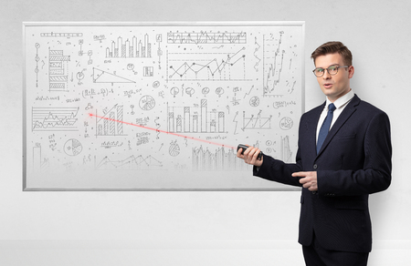 Photo for Professor with laser pointer teaching geometry - Royalty Free Image