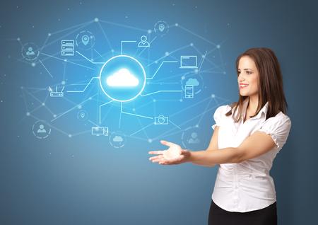 Photo pour Young smiling person presenting office cloud technology concept - image libre de droit
