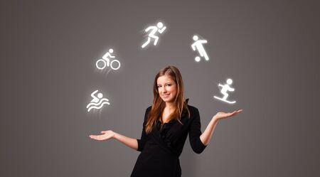 Photo pour Young student juggle with sports concept - image libre de droit