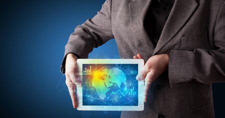 Photo pour Hand holding tablet with global database concept - image libre de droit