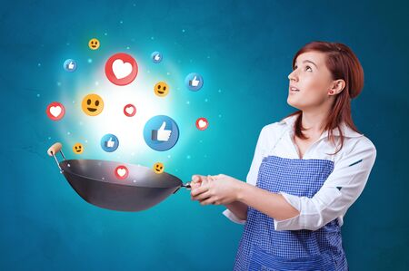 Photo for Young happy person cooking social media concept in wok - Royalty Free Image