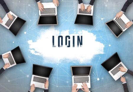 Photo pour Group of people having a meeting with LOGIN insciption, web security concept - image libre de droit