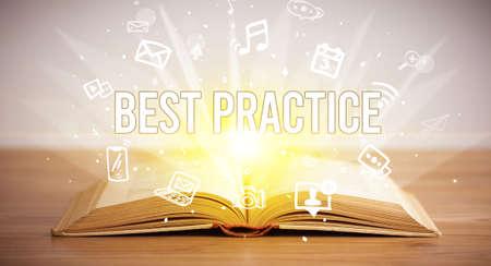 Photo pour Opeen book with BEST PRACTICE inscription, business concept - image libre de droit