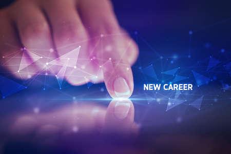 Photo pour Finger touching tablet with NEW CAREER inscription, business concept - image libre de droit