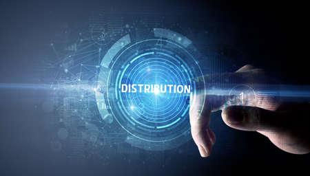 Photo pour Hand touching DISTRIBUTION button, modern business technology concept - image libre de droit