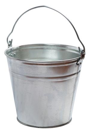 Metallic bucket isolated on a white background