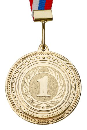 Gold Medal close-up. Isolated on white background