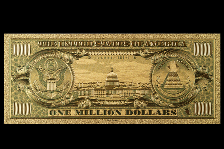 Photo pour Souvenir American Gold Banknote $ 1 Million Dollars isolated on a black background - image libre de droit