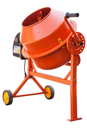 Foto de Orange Concrete mixer isolated on the white background - Imagen libre de derechos