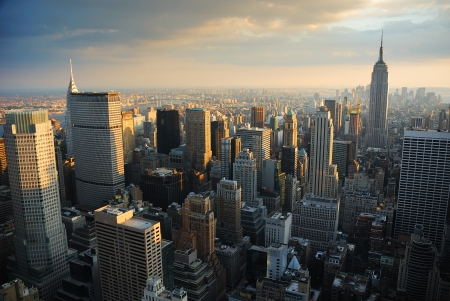 New York City Manhattan skyline aerial view at sunset.