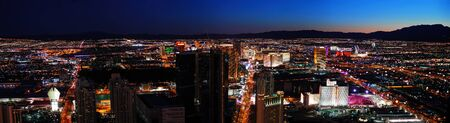 Las Vegas City skyline panorama night view with luxury hotel illuminated.