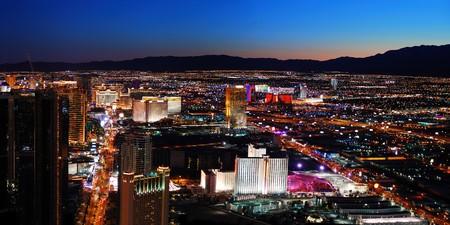 Las Vegas City skyline panorama night view with luxury hotel illuminated.