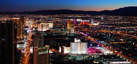 Luxury Hotel on Las Vegas Strip with City skyline panorama night view