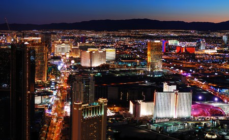 Las Vegas strip aerial view. Las Vegas City skyline panorama night view with luxury hotel illuminated.