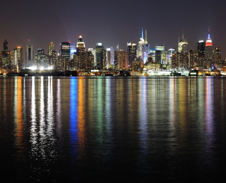 Photo pour New York City Manhattan midtown skyline panorama at night with lights reflection over Hudson River. - image libre de droit