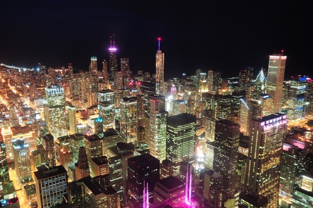 Chicago downtown aerial view at night with skyscrapers and city skyline at Michigan lakefron
