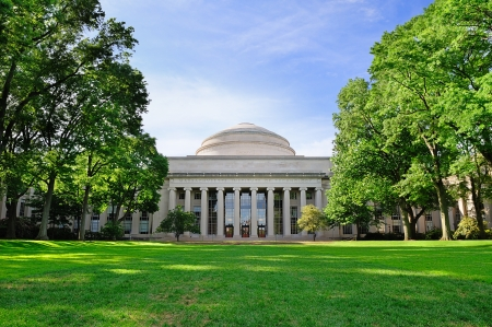 Boston Massachusetts Institute of Technology campus with trees and lawn