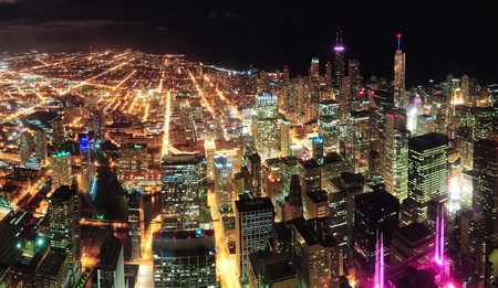 Chicago downtown aerial panorama view at night with skyscrapers and city skyline at Michigan