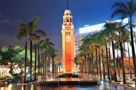 Clock tower in Hong Kong at night