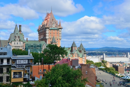 Quebec City cityscape panorama with cloud, blue sky and historical buildings.