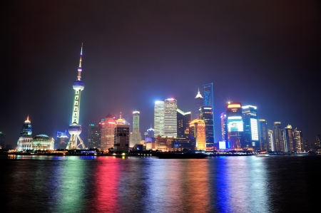 Shanghai Night Panorama Over Huangpu River