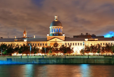 Bonsecours Market at sunset on street in Old Montreal in Canada