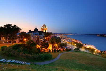 Quebec City skyline with Chateau Frontenac at dusk viewed from hill