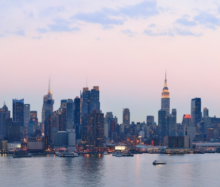 New York City midtown Manhattan sunset skyline panorama view over Hudson River