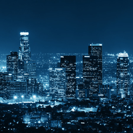 Los Angeles downtown buildings at night