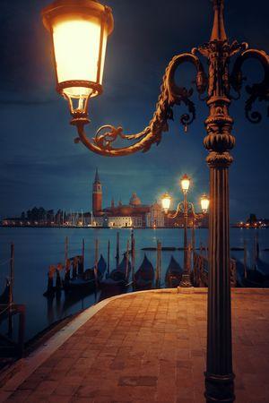 Foto de Venice at night with street lamp and San Giorgio Maggiore church in Italy. - Imagen libre de derechos