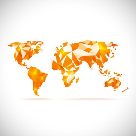 Illustration pour vectors World Map polygonal precision low-poly orange - image libre de droit