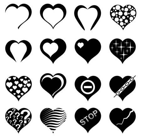 Abstract Heart. Set of Vector Illustrations.