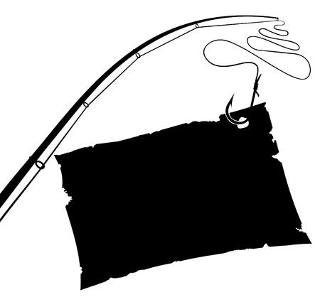 Vintage Paper sheet on fishing hook. Black and white Vector illustration.