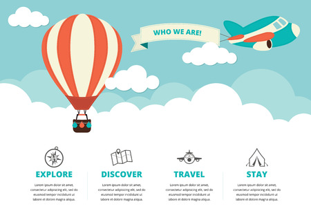 Website layout with a hot air balloon a plane and travel icons