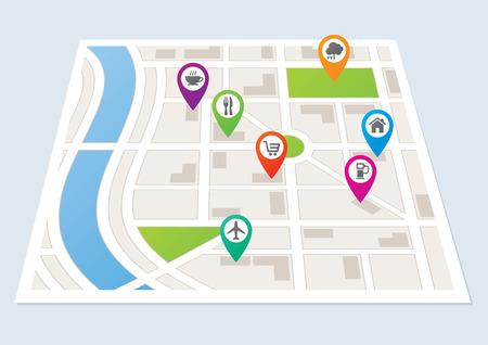 Illustration pour A city map showing roads and buildings - image libre de droit