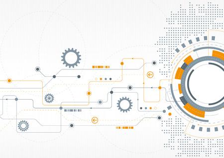Illustration pour A modern technical design with cogs and a network theme - image libre de droit