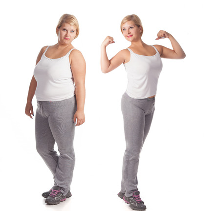 Photo pour beautiful fat woman before and after weight loss. rejuvenation - image libre de droit