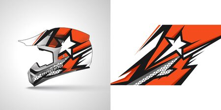 Illustration for Racing helmet wrap decal and vinyl sticker design illustration. - Royalty Free Image