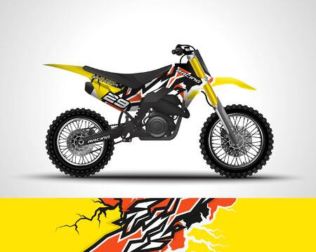 Illustration for Motocross wrap decal and vinyl sticker design. - Royalty Free Image