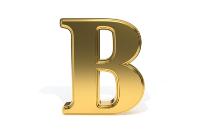 B gold colored alphabet, 3d render